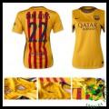 Camisa De Futebol Barcelona (22 Dani Alves) 2015/2016 Ii Feminina