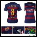 Camisa Futebol Barcelona (8 A.Iniesta) 2015-2016 I Feminina