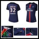 Camisa De Futebol Paris Saint Germain David Luiz 2015 2016 I Feminina