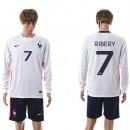 França Camisa De Futebol Ribery Manga Longa 2015/2016 Ii Masculina