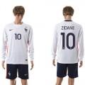 França Camisa Futebol Zidane Manga Longa 2015 2016 Ii Masculina