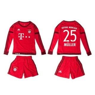 Bayern München Camisa Du Futebol Muller Manga Longa 2015-2016 I Infantil