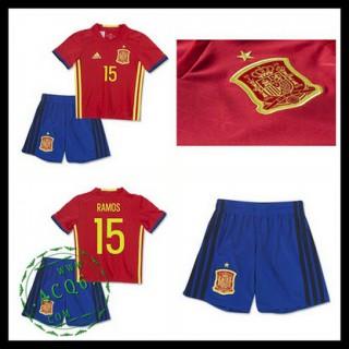 Camisas Du Futebol (15 Ramos) Espanha Autêntico I Euro 2016 Infantil