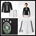 Camisetas (1 Neuer) Alemanha Autêntico I Manga Longa Goleiro Euro 2016 Infantil