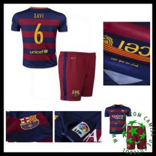 Camisas De Futebol Barcelona (6 Xavi) 2015-2016 I Infantil