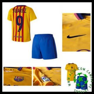 Uniforme De Futebol Barcelona (9 Suarez) 2015/2016 Ii Infantil