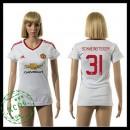 Manchester United Uniformes De Futebol Schweinsteiger 2015/2016 Ii Feminina
