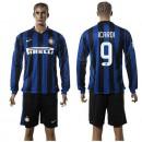 Inter Milan Uniforme De Futebol Icardi Manga Longa 2015-2016 I Masculina
