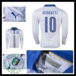 Camisas Du Futebol (10 Verratti) Itália Autêntico Ii Manga Longa Euro 2016 Masculina