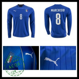 Camisas (8 Marchisio) Itália Autêntico I Manga Longa Euro 2016 Masculina