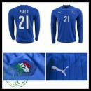 Camisa De Futebol (21 Pirlo) Itália Autêntico I Manga Longa Euro 2016 Masculina