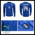 Camisas Futebol (14 El Shaarawy) Itália Autêntico I Manga Longa Euro 2016 Masculina
