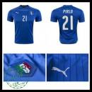 Camisas Futebol (21 Pirlo) Itália Autêntico I Euro 2016 Masculina