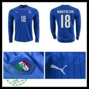 Camisetas (18 Montolivo) Itália Autêntico I Manga Longa Euro 2016 Masculina