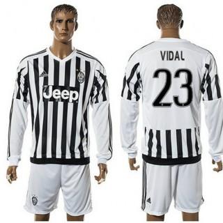 Juventus Camisa Vidal Manga Longa 2015/2016 I Masculina