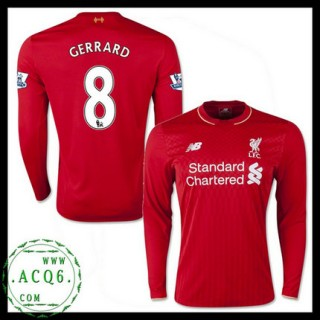 Para Quadro Camisas De Futebol Manga Longa Steven Gerrard Liverpool Masculina 2015-2016 I Loja On-Line