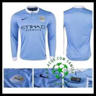 Camisas Manchester City Manga Longa 2015 2016 I Masculina