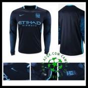 Camisa De Futebol Manchester City Manga Longa 2015/2016 Ii Masculina