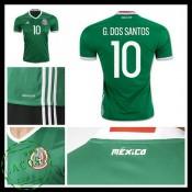 Camisa De Futebol México G. Dos Santos 2016 2017 I Masculina