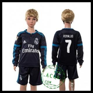 Real Madrid Camisetas Ronaldo Manga Longa 2015-2016 Iii Infantil