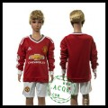 Manchester United Camisas Futebol Manga Longa 2015 2016 I Infantil