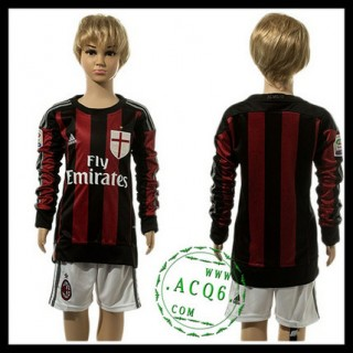 Ac Milan Camisa De Futebol Manga Longa 2015 2016 I Infantil