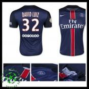 Uniforme Futebol Paris Saint Germain David Luiz 2015-2016 I Masculina