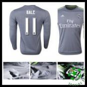 Camisa De Futebol Real Madrid (11 Bale) Manga Longa 2015/2016 Ii Masculina