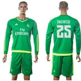 Real Madrid Camisa De Futebol Pacheco Manga Longa 2015 2016 Ii Goleiro