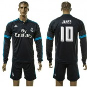Real Madrid Camisas De Futebol James Manga Longa 2015-2016 Iii Masculina