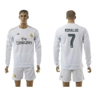 Real Madrid Camisas Du Futebol Ronaldo Manga Longa 2015 2016 I Masculina