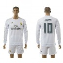 Real Madrid Camisas Futebol James Manga Longa 2015 2016 I Masculina