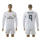 Real Madrid Uniformes De Futebol Benzema Manga Longa 2015-2016 I Masculina