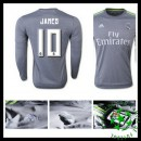 Camisa Real Madrid (10 James) Manga Longa 2015 2016 Ii Masculina