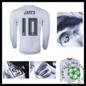 Camisetas Real Madrid (10 James) Manga Longa 2015-2016 I Masculina