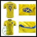 Camisetas (9 Kallstrom) Suécia Autêntico I Euro 2016 Masculina