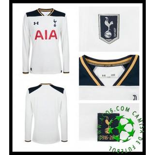 Uniformes De Futebol Tottenham Hotspur Manga Longa 2016-2017 I Masculina