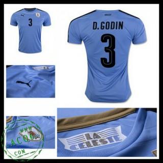 Camisas Du Futebol Uruguai D. Godin 2016-2017 I Masculina