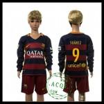 Barcelona Camisas De Futebol Suarez Manga Longa 2015 2016 I Infantil