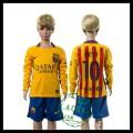 Barcelona Camisas Futebol Messi Manga Longa 2015-2016 Ii Infantil