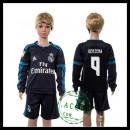 Real Madrid Camisa De Futebol Benzema Manga Longa 2015-2016 Iii Infantil