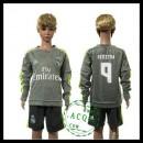Real Madrid Camisas Futebol Benzema Manga Longa 2015/2016 Ii Infantil