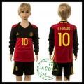 Bélgica Camisa De Futebol E.Hazard Manga Longa Euro 2016 I Infantil