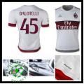 Camisa Futebol Ac Milan (45 Balotelli) 2015-2016 Ii Masculina