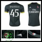 Camisas De Futebol Ac Milan (45 Balotelli) 2015 2016 Iii Masculina
