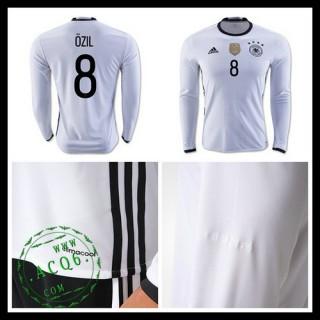 Camisa De Futebol (8 Ozil) Alemanha Autêntico I Manga Longa Euro 2016 Masculina