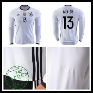 Camisas (13 Muller) Alemanha Autêntico I Manga Longa Euro 2016 Masculina