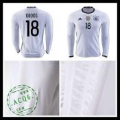 Camisas Futebol (18 Kroos) Alemanha Autêntico I Manga Longa Euro 2016 Masculina