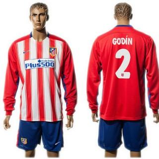 Atlético De Madrid Camisas Futebol Godin Manga Longa 2015-2016 I Masculina