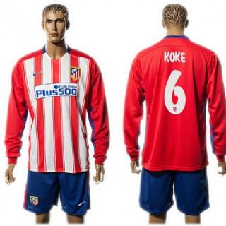 Atlético De Madrid Camisa Futebol Koke Manga Longa 2015-2016 I Masculina